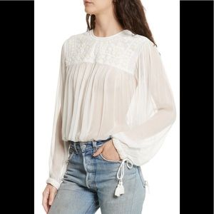 NWT Free People Retro Sheer Blouse ivory small
